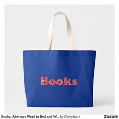 #Books, Abstract Word in Red and White, Tote #Bags - You can choose the bag style and or color. By CherylsArt at Zazzle.
