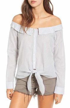 Leith Portrait Stripe Off the Shoulder Blouse