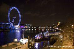 The London Eye at night. (c) Lisa Linard Photography.