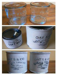 2 glazen potten met opschrift, Duck egg green,.Original.white, White en dark wax