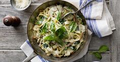 This veggie packed carbonara with mushrooms and fresh spinach from Maureen Partridge's Meal