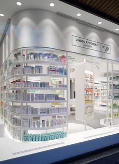 Where did the boring pharmacy stores go? Cosmetic Shop, Cosmetic Display, Shop Front Design, Store Design, Pharmacy Store, Pharmacy Humor, Medical Design, Retail Merchandising, Retail Interior