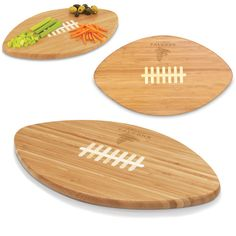 "The Touchdown! Cutting board is a 15"" x 8.75"" x 0.75"" board made of eco-friendly bamboo with a standard football design, with 123 square inches of cutting surface. It can be used as a cutting board or serving tray, or use both sides of the board, one for cutting and the other for serving. The backside of the board is solid dark bamboo. Go long...for the Touchdown!"