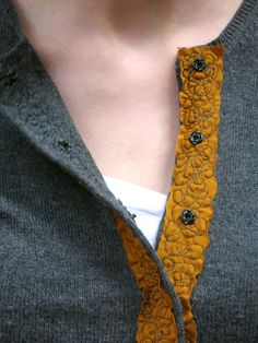 cardigan_close  freehand stitching ..... lovely variation when working with woolens with the ribbon stitched on with freestyle machine stitching