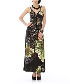 Take a look at this Olive Floral Maxi Dress by Classique on #zulily today!