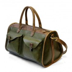Зеленая дорожная сумка из кожи | Дизайнер Leonid Titow (ЛеонидТитов)