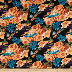 Stretch Ponte de Roma Knit Florals Black/Light Orange from @fabricdotcom  This floral printed ponte de roma double knit fabric is perfect for creating skirts, dresses, structured knit apparel, light jackets, heavier tops and more! It has a soft hand, full bodied drape and 50% stretch across the grain.