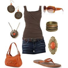 orange and brown summer outfit created by kaybraden on Polyvore