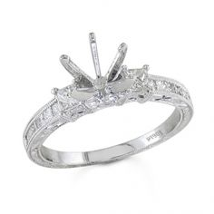 BF1327 - #23538  18 k white, Diamond Ring. . 0.46 ct princess (Please call for pricing)