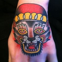Crown Panther Tattoo On Left Hand