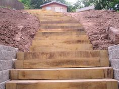 Paul's flight of steps with new oak railway sleepers 7