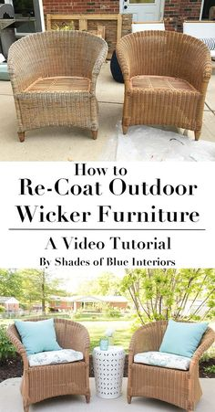 How to refresh aged or worn wicker furniture by recoating with a solid exterior stain. Video tutorial showing products and process used. Source by martamccall Painting Wicker Furniture, Outdoor Wicker Furniture, Wicker Chairs, Farmhouse Furniture, Furniture Making, Cool Furniture, Modern Furniture, Furniture Ideas, Furniture Layout