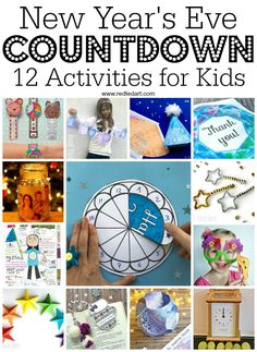 New Year's Eve Countdown for Kids - Count down to Midnight with this fantastic set of hourly activity for kids. Includes many printables to make New Year's Eve planning quick and easy. Love these New year's eve printables for kids Countdown For Kids, New Year's Eve Countdown, Countdown Clock, New Years Eve 2018, New Years Eve Party, New Years Eve Toddler, New Year's Eve Plans, New Year's Eve Activities, New Year's Eve Crafts
