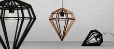 Diamond lamp, swedish design from tvåfota Design Swedish Design, Nordic Design, House Lamp, Lights Fantastic, Displays, I Love Lamp, Home Decor Inspiration, Geometric Shapes, Wood