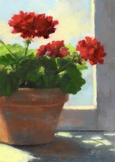 """Geraniums Sunlit"" - Original Fine Art for Sale - © Linda Jacobus"