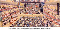 花道が斜めに付いた江戸時代後期の芝居小屋の様子(『踊形容江戸絵栄』)