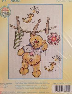 """Janlynn Baby Cross Stitch #063-0115 """"Wash Line Fun"""" KIT NIP -Teddy Bear- Craft    eBay"""