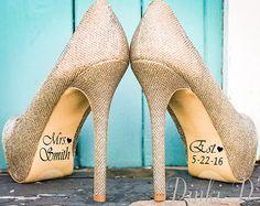 Name und Datum Hochzeit Schuh Aufkleber Decals Braut und