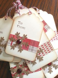 Snowflake Gift Tags to make your winter packages more festive! Each tag is hand stamped with To and From and decorated with patterned paper bands. Another use for all my paper scraps. Christmas Gift Wrapping, Christmas Paper, Handmade Christmas, Christmas Crafts, Christmas Present Tags, Christmas Holiday, Diy Christmas Tags, Country Christmas, Simple Christmas