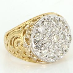Vintage 14 Karat Yellow Gold Diamond Mens Cocktail Signet Pinky Ring Estate $995