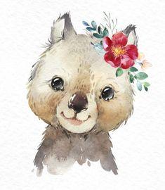 Australia Wombat Kangaroo Platypus Watercolor little animals clipart babies portrait eucalyptus wreath flowers kids nursery art baby-shower Baby Animal Drawings, Cute Drawings, Watercolor Animals, Watercolor Paintings, Watercolor Images, Baby Animals, Cute Animals, Animal Paintings, Cute Wallpapers
