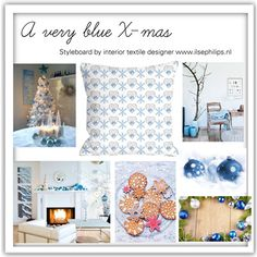 """mood board with pillow """"X-mas blue"""" by www.ilsephilips.nl"""