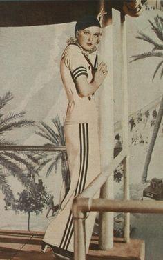 1934 Sailor pants outfit 30s white blue stripes colorized photo print ad model wide leg pant shirt hat shoes heels