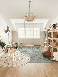 Can you guys believe our playroom is finished? I am so happy with how it all turned out. I really really wanted to make this a fun space… Montessori Playroom, Toddler Playroom, Kids Playroom Rugs, Indoor Playroom, Playroom Design, Playroom Decor, Blue Playroom, Small Playroom, Modern Playroom
