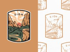 Zion National Park designed by Alex Spenser for The Faces. Connect with them on Dribbble; the global community for designers and creative professionals. Smoky Mountain National Park, Grand Canyon National Park, National Parks, Zion T, City Icon, Parking Design, Badge Design, Graphic Design Inspiration, Sticker Design