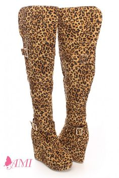 973d4debf17 People also love these ideas. Leopard Print Knee High Wedge Boots Faux Suede  Sexy.