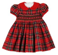 NEW Anavini Red Plaid Cotton Smocked Dress with Red Collar $80.00 #SmockedChristmasDress