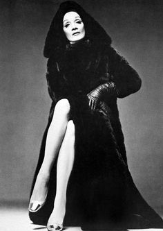 Marlena Dietrich by Richard Avedon in full length hooded black mink, for BlackGlama Ads, 1972.