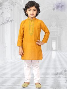 Boasting of stylish design and absolute comfort,this exclusive cotton textured ethnic-wear is specially designed for your darling. Dress up your adorable one with this outfit along with mojdis for a complete traditional look.  #mydesiwear #kidswear #ethnicwear #kurtapayjama #partywear