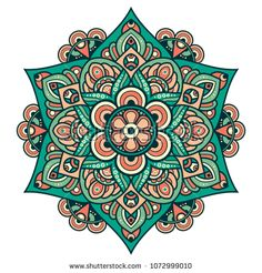 Vector round abstract circle. Mandala style. Mandala Art, Circle Mandala, Mandala Drawing, Mandala Painting, Embroidery Stitches Tutorial, Embroidery Patterns, Coloring Books, Coloring Pages, Ornament Drawing
