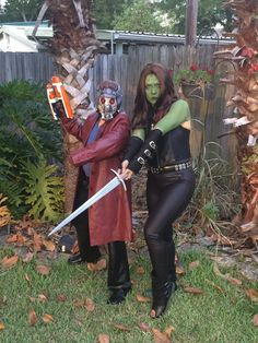 After many Goodwill trips, I was able to piece together a Starlord and Gamora costume and look pretty on point!!!