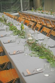 beautiful greenery tablescape.
