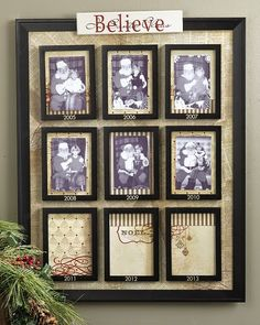 A great Christmas tradition remembered each year. Santa Claus Pictures - I love this idea (although ours would have to be of children screaming on Santa's lap if we did it), but the real reason for the pin is the instructions. They are needed for the Yearly Christmas Pictures idea.
