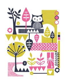 Retro Owl Screenprint - pink, lime green and navy. £40.00, via Etsy.