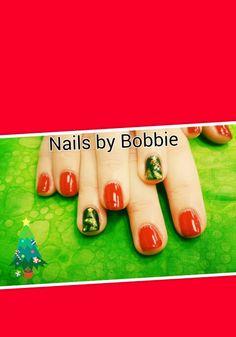 Christmas tree nails in Shellac