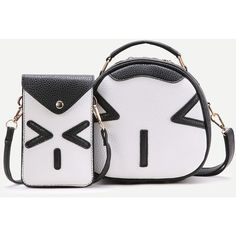 Black Emoji Pattern Crossbody Bag With Pouch Bag ($25) ❤ liked on Polyvore featuring bags, handbags, shoulder bags, shoulder strap bags, pouch purse, print purse, shoulder strap handbags and cross body
