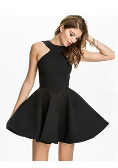 Buy Black Plain Draped Round Neck Fashion Cotton Mini Dress online with  cheap prices and discover 58da5b47a