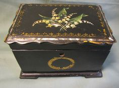 Lovely Papier Mache Tea Caddy, Double Compartment, Lily of the Valley, MOP