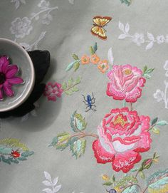 hand embroidered tablecloth - one last job for Maz.