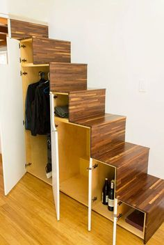 Hikari-Box-Tiny-House-Tansu-Storage-Stairs-Open The Hikari Box is a modern tiny house design with an open floor plan, tons of light, and a relatively simple construction process. Modern Tiny House, Tiny House Living, Tiny House Plans, Japanese Tiny House, Living Room, Japanese Home Design, Modern Houses, Small Living, Tiny House Stairs