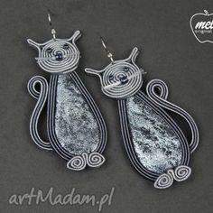 mela kolczyki sutasz kotki koty bez filcu szare2, kolczyki, sutasz, soutache
