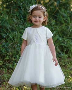 9535c48814d4 Adorable Sarah Louise White Satin & Tulle Dress with Attached Bolero.  Perfect for a flower girl dress or any special occasion.