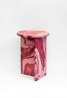 Handmade marble-effect stools by Ferréol Babin