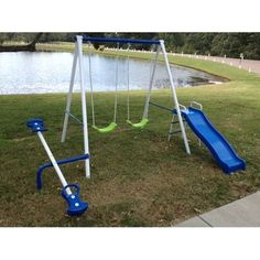 Very Short Small Swing Set Compact Metal Swingset Slide See Saw Teeter Totter Fast Free | eBay
