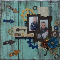 a very masculine LO showcasing this versatile chipboard