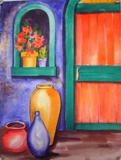I painted this for the April project for Watercolor Workshop group. The challenge for this month is to select a tetradic color scheme from . Split Complementary Color Scheme, Tertiary Color, Complimentary Colors, Yellow Art, Yellow Painting, Orange Yellow, Blue Green, Orange Door, Color Terciario